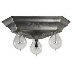 Art Deco Three-Light Flush Mount Fixture, Antique Lighting