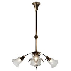 Early Brass Chandelier with Original Shades, Antique Lighting