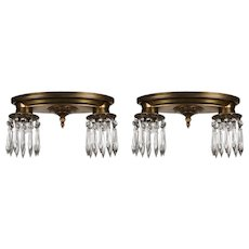 Antique Neoclassical Flush Mount Fixtures, Icicle Prisms