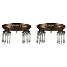 Neoclassical Brass Flush Mount Fixtures with Prisms, Antique Lighting