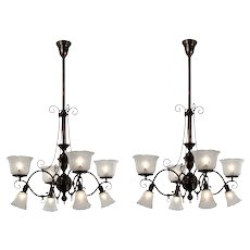 Antique Gas & Electric Chandeliers with Shades, Japanned Finish