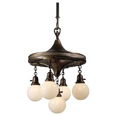 Brass Chandelier with Ball Shades, Antique Lighting
