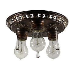 Antique Neoclassical Flush Mount Fixture with Teardrop Prisms