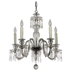 Antique Five-Light Crystal and Glass Chandelier with Prisms