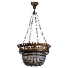 Inverted Dome Bronze and Stained Glass Chandelier with Jewels, Antique Lighting