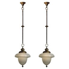 Antique Neoclassical Pendant Lights with Shades, C. 1900