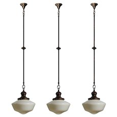 Neoclassical Antique Pendant Lights with School House Shades