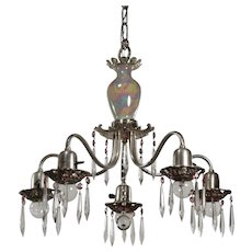 Antique Silver Plated Chandelier with Prisms and Lavender Accents, Early 1900s