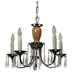 Antique Silver Plated Chandelier with Prisms and Lavender Accents, C. 1920s