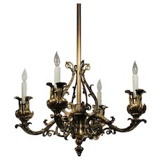 Substantial Antique Cast Bronze Neoclassical Chandelier, C. 19th Century
