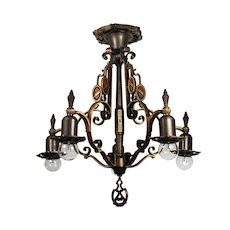 Antique Spanish Revival Cast Bronze Semi-Flush Mount Chandelier with Shields