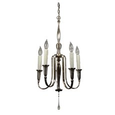 Antique Colonial Revival Silver Plate Chandelier, c.1910