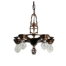 Art Deco Five-Light Chandelier with Exposed Bulbs, Antique Lighting