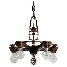 Art Deco Five-Light Chandelier with Exposed Bulbs, Antique Lighting
