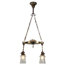 Antique Two-Light Brass Chandelier with Original Hand-Cut Shades
