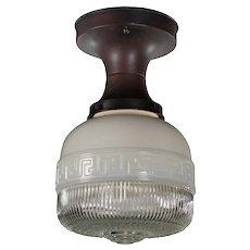 Antique Art Deco Flush Mount Light, Greek Key