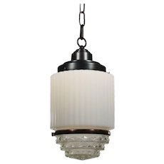 Art Deco Skyscraper Pendant Light with Two-Part Prismatic Shade