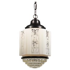 Art Deco Skyscraper Pendant Light with Painted Two-Part Prismatic Shade