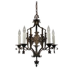 Iron Spanish Revival Five-Light Chandelier with Shields, Antique Lighting
