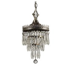 Antique Neoclassical Three-Tiered Silver Plate Chandelier, c.1910