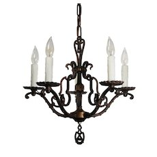 Hammered Spanish Revival Five-Light Chandelier, Antique Lighting