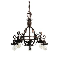 Antique Five-Light Iron Chandelier with Flowers