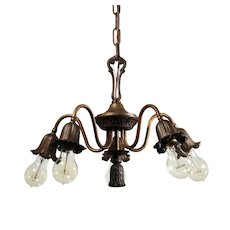 Antique Five-Light Brass Chandelier, Early 1900s