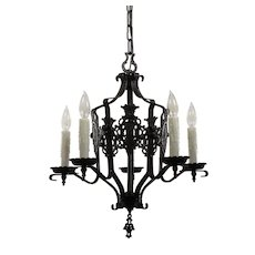Antique Iron Spanish Revival Five-Light Chandelier with Shields, c. 1920s