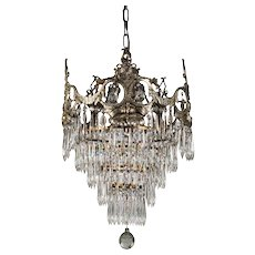 Neoclassical Silver Plated Tiered Chandelier, Antique Lighting