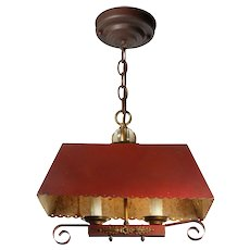 Vintage Pendant Light with Scalloped Metal Shade