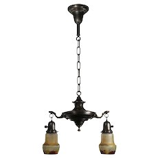 Antique Chandelier with Glass Shades