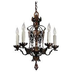 Antique Five-Light Chandelier with Shields, Cast Bronze