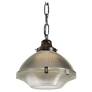 Antique Industrial Holophane Pendant Light, c. 1930