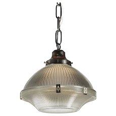 Antique Industrial Holophane Pendant Light, c. 1930