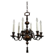 Antique Colonial Revival Chandelier, Cast Bronze