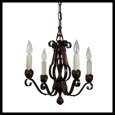 Antique Four-Light Chandelier in Iron