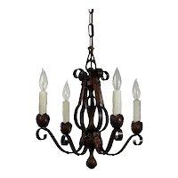Antique Four-Light Chandelier in Iron