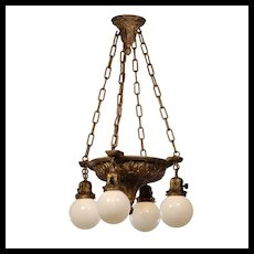 "Antique Cast Bronze Chandelier with Glass Globes, Signed ""B.K."""