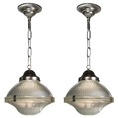 Antique Industrial Holophane Pendant Lights