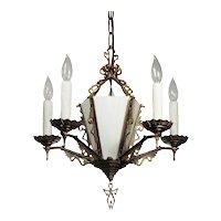 Art Deco Chandelier in Brass, Antique Lighting