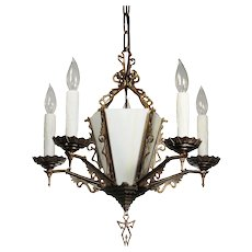 Art Deco Chandelier in Brass, Antique Lighting