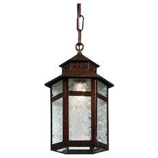 Antique Copper Lantern with Florentine Glass