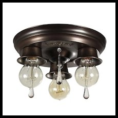 Antique Flush Mount Fixture with Teardrop Prisms