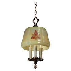 Antique Three-Light Chandelier with Iridescent Glass Shade