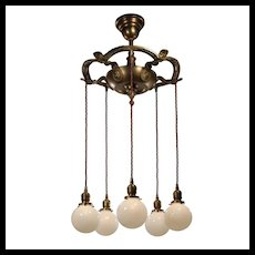 Neoclassical Semi-Flush Chandelier with Globes, Antique Lighting