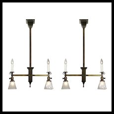 Brass Gas & Electric Chandeliers with Glass Shades, Late 1800's