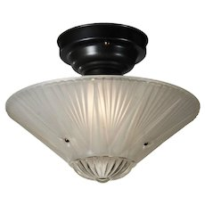 Vintage Art Deco Flush Mount Light Fixture with Original Glass Shade