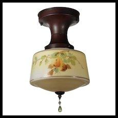 Antique Flush Mount Pendant Light with Original Painted Shade