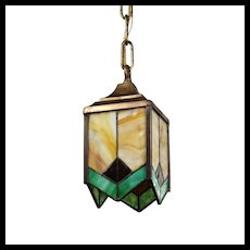 Antique Lantern with Stained Glass, Early 1900s