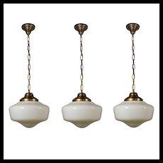 Antique Brass Schoolhouse Pendant Lights with Original Shades